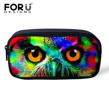 2016 Fashion Women Makeup Bag 3D Colorful Animal Pencil Case Owl Tiger Large Pencil Bag For Boys Girls Children School Supplies