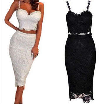 VIP 2 Piece Set Women Two Piece Outfits Black White Lace Dress Female Club Wear Knee Length Tunique Sexy Midi Bodycon Dresses BZD