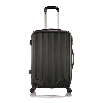 Set of 1 piece travel luggage 4 wheels trolleys suitcase bag hard shell  Color Black 24-inch