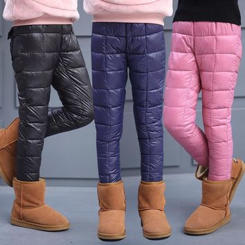New Arrival Children Girls Winter Pants High Quality Teenager Solid Color Warm Trousers Kids Thicking Down Pant Child Leggings
