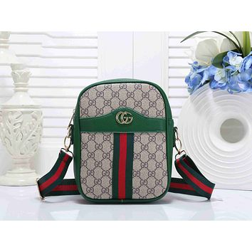 Gucci Trending Women Stylish Leather Red Green Stripe Shoulder Bag Crossbody Satchel Handbag Full Green I-KSPJ-BBDL