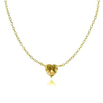 Dainty Citrine Small Heart Choker Necklace in Gold Plated Sterling Silver