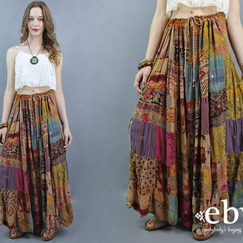 Patchwork Maxi Skirt Indian Maxi Skirt Hippie Skirt Hippy Skirt Festival Skirt Boho Skirt Bohemian Skirt India Skirt Plus Size Skirt 2X 3X