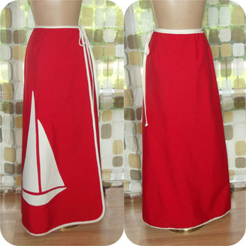 "Vintage 70s Skirt | 70s Wrap Skirt | 1970s Maxi Skirt | Novelty Sailboat Skirt | Red White Nautical | BOHO Skirt | Sz S/M | 24"" - 29"" Waist"
