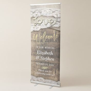 Rustic Country Wood Burlap Lace Wedding Welcome Retractable Banner