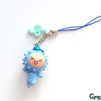 Blue sheep with music note cute charm - kawaii phone charm - animal charm - geekery