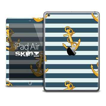 The Navy and Gold Anchors Skin for the iPad Air