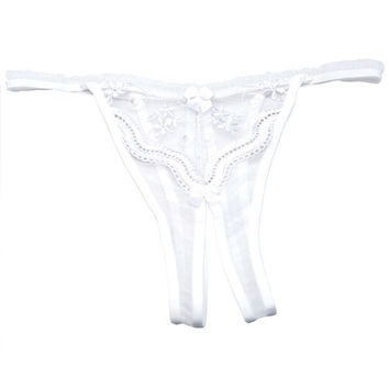 Plus Size Scalloped Embroidery Crotchless Panty White