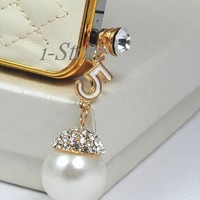 Designer inspired pearl white Set - 3.5mm Anti dust Ear Cap Dock Plug and beige cream white Leather iPhone 4 4S case - iStore