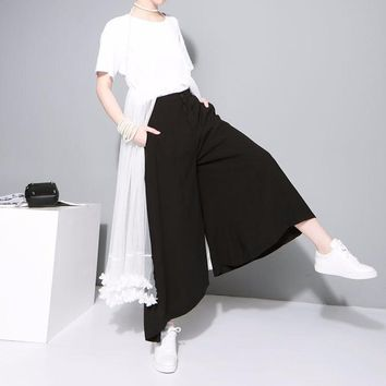 Elastic Waist Pleated Loose Wide Leg Pant