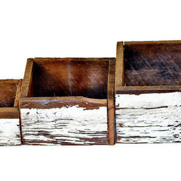 Reclaimed Wood Nesting Boxes Set of 3 Antique Heart Pine from Alabama Plantation Home by RestorationHarbor