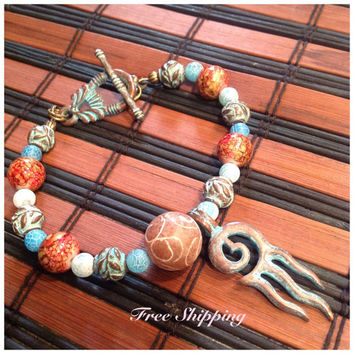 Greek Mykonos / Gemstone Jewelry / Beaded Bracelet / Turquoise / Rust /Antique Copper / Calamari Charm / Gift Idea / Rustic / Mythical
