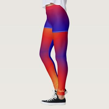 Personalized Vivid Rainbow with Fake Blue Shorts Leggings