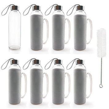 TeiKis® 18 oz Glass Water Bottles (8) + Nylon Sleeve (8) + Bottle Brush Set (1). Beverage, Juice Container with Stainless Steel Leak-proof Caps