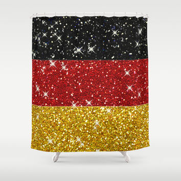 Glitters Germany Flag with Sparkles Shower Curtain by Tees2go | Society6
