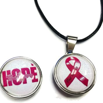 Hope Believe Find The Cure Ribbon Breast Cancer Support Awareness Pendant Necklace  W/2 18MM - 20MM Snap Jewelry Charms