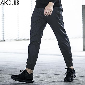 Men Pants Ankle Length Jogger Pants Cotton Twill Trousers Rib Ankle Tied Knee Patchwork Men Casual Pants