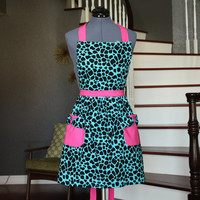 Blue Aprons for Women, Womens Aprons with Pockets, Cute Aprons, Blue Black Pink Animal Print Apron, Handmade Aprons, Luz Diany Apron