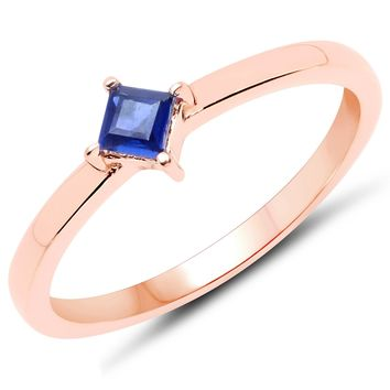 LoveHuang 0.16 Carats Genuine Kyanite Stacking Ring Solid .925 Sterling Silver With 18KT Rose Gold Plating