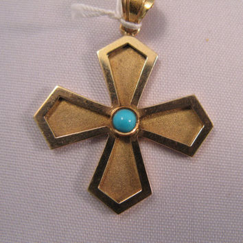 Vintage 18k Yellow Gold Cross with turquoise - Pendant - Charm - 14k Gold Chain