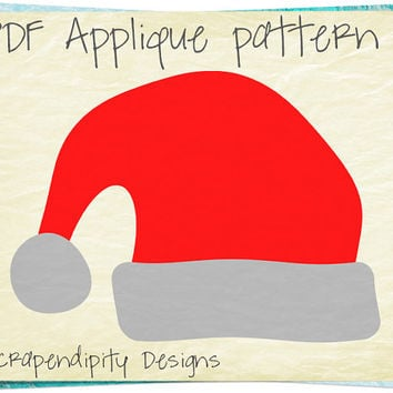 Santa Hat Applique Pattern - Christmas Applique Template / Nursery Quilt Pattern / Christmas Wall Hanging / Santa Fabric Applique AP281-D