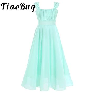 Girls Wedding Party Bridesmaid Floral Flower Dresses Ball Gown Prom Formal Maxi Dress Princess Child Tulle Lace 4-14Y
