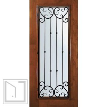 Slab Entry Single Door 80 Wood Alder Valencia Full Lite Wrought Iron