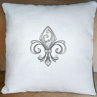 boutique FLEUR-DE-LIS embroidery, shabby chic pillow, off white fabric with black embroidery