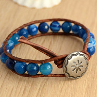 Blue wrap bracelet. Nautical blue beaded beach jewelry