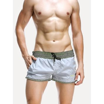 Men Contrast Trim Drawstring Beach Shorts