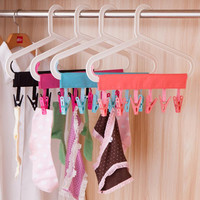 Polyester plastic Portable Bathrooms Cloth Hanger Rack Clothespin BusinessTravel Portable Folding Cloth Hanger Clips