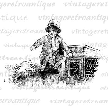 Girl with Pet Bunny Rabbit Printable Graphic Digital Illustration Image Download Vintage Clip Art Jpg Png Eps  HQ 300dpi No.3259