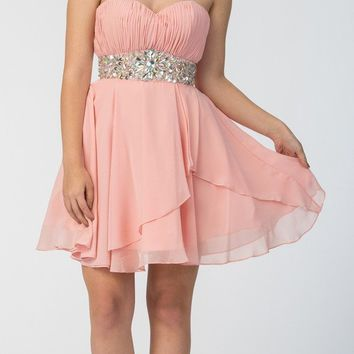 Short Chiffon Semi Formal Dress Blush Rhinestone Waist