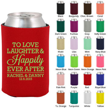 Personalized Koozies - Wedding Favors - Love Laughter Happily Ever After - Custom Koozie - Beer Can Coozies (1833)