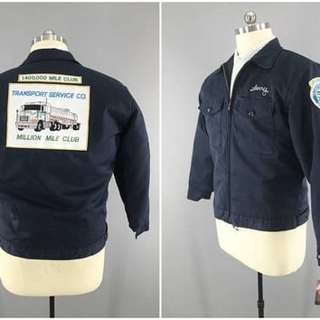 Vintage Trucker Jacket / Million Mile Club / Transport Service Co / Semi Truck Patch / Larry Jacket / Quilted Liner / Waist Length / Size 46