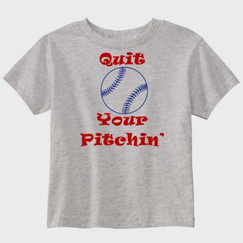 Quit Your Pitchin' Personalized Gray Baseball T-Shirt