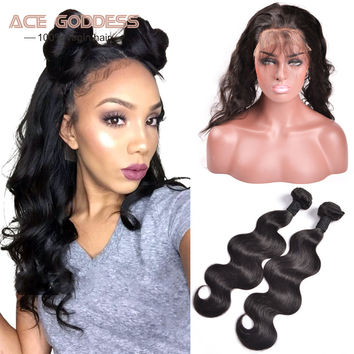 OPAL FERRIE - 360 Lace Frontal Closure With 7A Peruvian Body Wave Human Hair Bundles