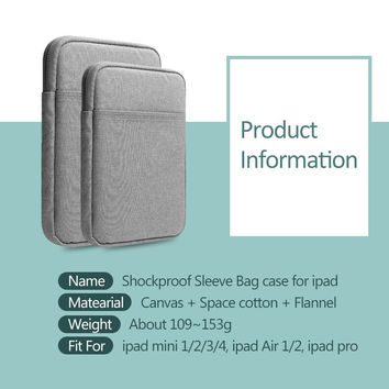 Shockproof Tablet Sleeve pouch Case for ipad Air / Pro Cover