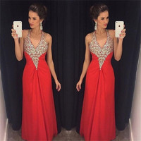 Red Sparkly Sequins Mermaid Prom Dresses 2017 New Halter Backless Long Chiffon Floor Length Formal Evening Gowns Robe de soiree