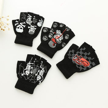 2016 Kids Fingerless Gloves Boys 3D Spider Car Print Black Glove Student Winter Knit Wool Mittens Warm Child Play Accessories
