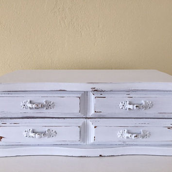Shabby chic jewelry armoire, vintage box white, wood