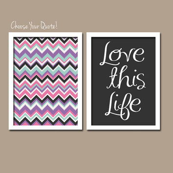 Bold Colorful Pink Purple iKat inspired Pattern Set of 2 Prints WALL ART Decor Abstract Bedroom Bathroom Nursery Choose Your Quote!