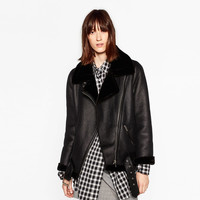 FAUX FUR COLLAR BIKER JACKET DETAILS