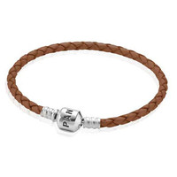 Pandora Brown Single Braided Leather Bracelet