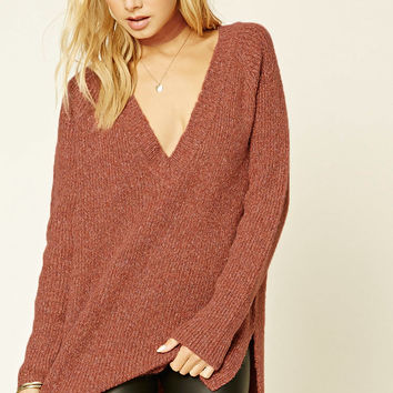 Marled Knit V-Neck Sweater
