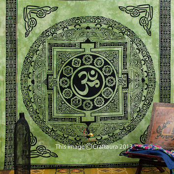 Large Hippie Hippy Wall Hanging , Om Mandala Tapestry, Meditation, Indian Tapestry, Bohemian, Picnic Blanket, Indian Bedspread Bed Cover