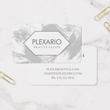 Graphite Brushed Abstract Modern Beauty Salon Business Card