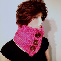 Knitted Chunky Neck Warmer/ Cowl in Hot pink