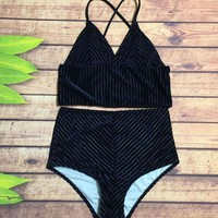 Sexy V Collar Pleuche Pure Color High Waist Two Piece Bikini Swimsuit Bathing(4-Color) Black