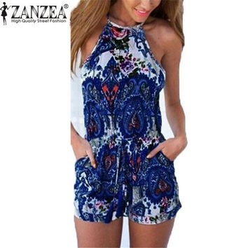 DCCKWQA Summer Womens Hoollow Backless Rompers Jumpsuit Sexy Halter neck Sleeveless Playsuit Casual Beach Playsuit Overalls